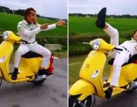 Xử phạt thanh niên đi xe máy buông 2 tay, bốc đầu xe