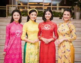"""""""Gái một con"""" Hồng Quế, Hoa hậu Thu Ngân thướt tha áo dài Tết"""