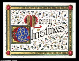 Ngắm tấm thiệp Giáng sinh mạ vàng, gắn kim cương đắt giá