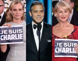 """Huy hiệu """"Tôi là Charlie"""" tràn ngập thảm đỏ Quả Cầu Vàng"""