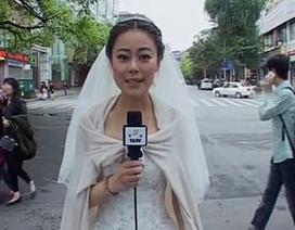 Cô dâu đưa tin về động đất ngay trong lễ cưới
