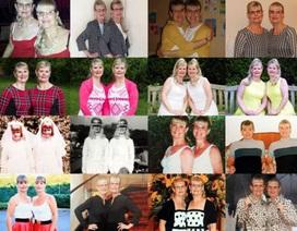 Cặp song sinh 60 tuổi vẫn thích mặc quần áo giống nhau