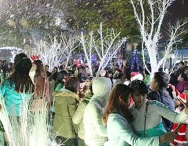 """Giới trẻ Hà Thành thích thú chụp ảnh với """"Con đường tuyết"""""""