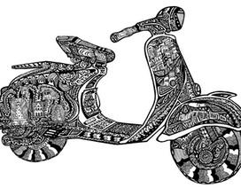 """Họa sĩ trẻ """"định nghĩa"""" về Hà Nội trên chiếc xe máy"""