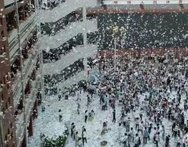 Trung Quốc: Tranh cãi hình ảnh HS xé sách tung giấy trắng xóa sân trường