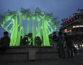 Hà Nội: Một đài hoa lớn mới lắp đặt đã bị tháo dỡ