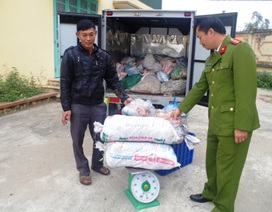 Bắt giữ xe tải chở gần 1 tấn lòng, bì lợn không rõ nguồn gốc