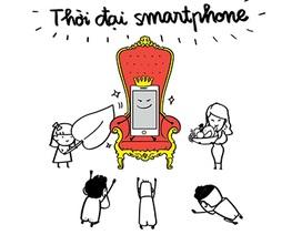 Biếm họa về sự phụ thuộc của giới trẻ vào smartphone