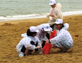 Phú Yên: Hàng trăm học sinh đội mưa dọn rác trên bãi biển