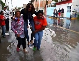 """Sợ """"ướt giày"""" khi đưa tin ngập lụt, nữ phóng viên bị sa thải"""