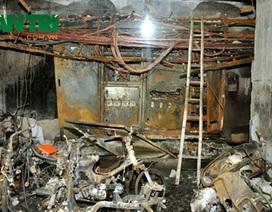 Cảnh ngổn ngang trong tầng hầm tòa chung cư Xa La bị cháy