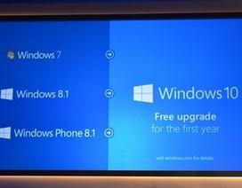 Windows 10 cho phép nâng cấp miễn phí từ Windows 7, 8.1 và Windows Phone 8.1