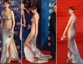 """""""Sốc"""" với váy xuyên thấu của mỹ nhân Hoa ngữ"""