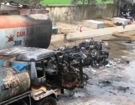 Cháy xe chở dầu, hai người bị thương nặng