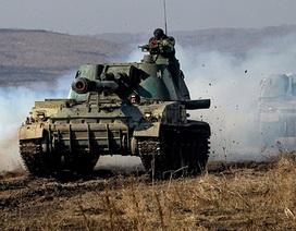 Xe tăng Nga rầm rập diễn tập giáp biên giới Ukraine