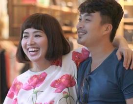 """Lê Khánh và chồng sắp cưới """"tình cảm"""" ở phim trường"""
