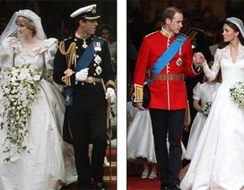 Những hình ảnh giống nhau tại lễ cưới hoàng tử William và bố mẹ