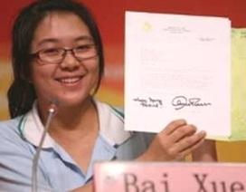 Một nữ sinh nhận được thư của 30 nguyên thủ quốc gia
