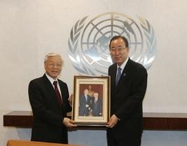 Tổng Bí thư và Tổng Thư ký Liên hợp quốc trao đổi về vấn đề Biển Đông