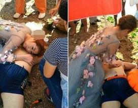 Cảm phục cô gái mặc váy cưới vẫn xông pha cứu người