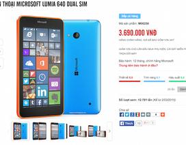 Lumia 640 chính hãng giá 3,69 triệu đồng, rẻ hơn giá công bố trước đó