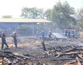 Xưởng gỗ bốc cháy dưới nắng nóng 40 độ C