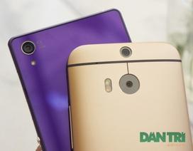 HTC One M8 vàng đọ dáng cùng Xperia Z2 tím