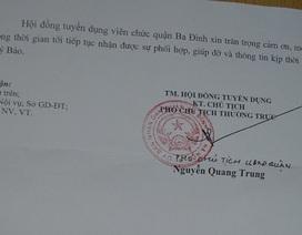 Hội đồng tuyển dụng quận Ba Đình phản hồi về việc xét tuyển viên chức