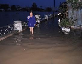 """Triều cường đạt đỉnh, nước sông Sài Gòn chảy """"cuồn cuộn"""" vào khu dân cư"""