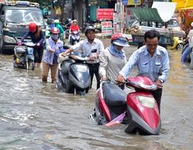 """Vừa chống chọi mưa ngập """"kỷ lục"""", người Sài Gòn lại điêu đứng vì triều cường"""