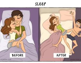 Chùm ảnh hài hước về sự khác biệt của các cặp đôi trước và sau khi kết hôn