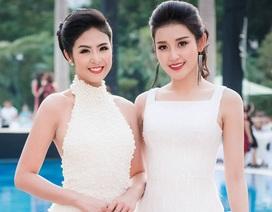 """Hoa hậu Ngọc Hân """"đọ"""" sắc trắng với Á hậu Huyền My"""