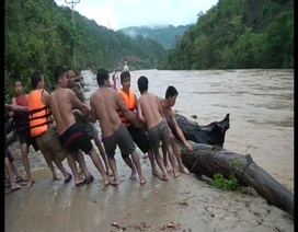 Hàng trăm người dân liều mình lao xuống dòng lũ chảy xiết vớt củi