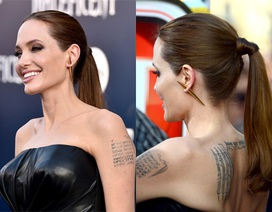 """Cận cảnh da siêu mịn và khuyên tai """"khủng"""" của Angelina Jolie"""