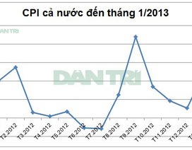 Lạm phát tháng 1/2013 tăng mạnh trở lại