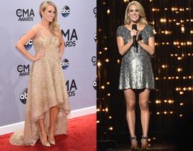 """""""Bà bầu"""" Carrie Underwood thay gần chục chiếc váy dự sự kiện"""