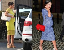 Người đẹp gợi tình vẫn mặc váy bó, đi giày cao gót dù mang bầu 7 tháng