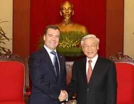 Tổng Bí thư tiếp Thủ tướng Nga Dmitry Medvedev