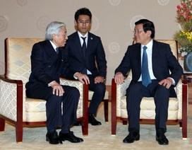 Nhật hoàng Akihito tiếp thân mật Chủ tịch nước Trương Tấn Sang