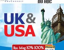 Ngày hội thông tin du học Anh - Mỹ: học bổng đến 100% học phí