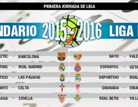 La Liga mùa 2015/16: El Clasico diễn ra vào tháng 11