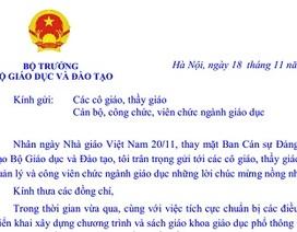 Bộ trưởng Bộ GD-ĐT gửi thư chúc mừng Ngày Nhà giáo Việt Nam