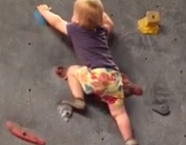 Bé gái 8 tháng tuổi chưa biết đi đã biết leo tường