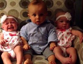 Vẻ bối rối đáng yêu của cậu nhóc lần đầu thấy em bé sinh đôi