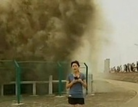 Phóng viên bị sóng lớn tấn công khi đang ghi hình