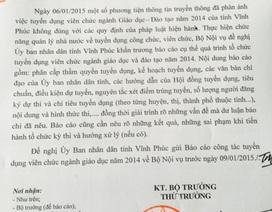 Tỉnh Vĩnh Phúc phải báo cáo tuyển dụng viên chức ngành giáo dục trước ngày 9/1