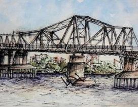 Những bức ký họa tuyệt đẹp về cầu Long Biên của SV ĐH Phương Đông