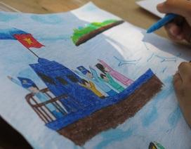 """Học sinh nô nức thi vẽ tranh """"Em yêu biển, đảo quê hương"""""""