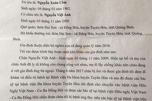 Đơn trình bày hoàn cảnh của gia đình cháu Việt Anh.
