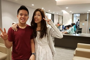Hai chị em Hạnh An. Em trai 13 tuổi chính là người đã tặng tuỷ ghép cho chị.